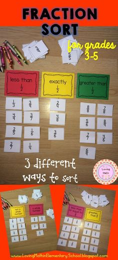 Fraction Sort Game Comparing Fractions Practice fraction skills with this super fun sorting game! Your students will have a blast. Play in teams and compete for prizes. 4th Grade Fractions, Teaching Fractions, Fifth Grade Math, Teaching Math, Comparing Fractions, Fourth Grade, Equivalent Fractions, Grade 3, Multiplication Strategies