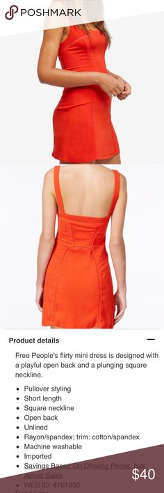 Free People Beyond Me Open-Back mini dress Free People mini dress cute, only worn once, in like new condition, tomato color Free People Dresses Mini