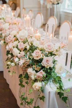 Bridal Table Decorations, Pink Wedding Centerpieces, Bridal Party Tables, Head Table Wedding, Wedding Table Flowers, Decoration Table, Floral Wedding, Centrepieces, Tall Centerpiece