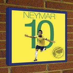 Square Canvas Wrap Neymar Soccer Art Print Brazil Soccer Posters wall decor home decor Neymar print, Brazil Football poster by Graphics17 on Etsy
