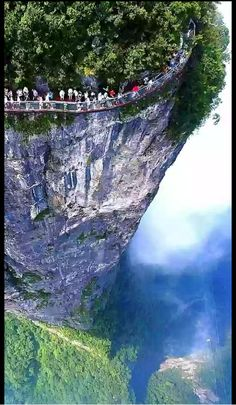 Glass walkway that runs along the side of Tianmen Mountain in Zhangjiajie National Forest Park - China