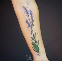 Watercolor lavender tattoo on forearm by Russell Van Schaick
