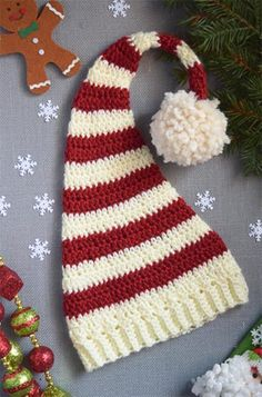 Crochet Beanie Ideas Name: 'Crocheting : Long Tail Christmas Hat Crochet Pattern - Crochet Round, Double Crochet, Free Crochet, Knit Crochet, Crochet Toys, Crochet Crafts, Yarn Crafts, Crochet Projects, Crochet Ideas
