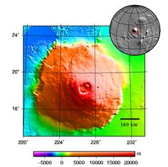 Mars Topografická mapa Olympus Mons