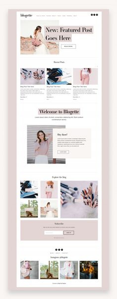 Blogette Squarespace Template  The Blogette Squarespace Template Kit is designed for the modern blogger or influencer. Not only is super cute, but it's full of blogging features like a sidebar and featured posts.  #WebDesign #Diseñoweb #Squarespace #SquarespaceTemplate #TemplateKit #FeminineSquarespace #PhotographyTemplate #TemplateKit #Photographer #FashionTemplate #SquarespaceBlog