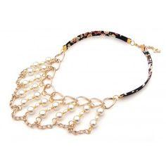 Collar con Perlas, Cadena de Aluminio y Tela Estampada