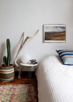 How to decorate with found objects — fallen tree branches and driftwood.