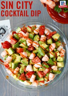 Inspired by the home of shrimp cocktail - Las Vegas - this dip  recipe is a game day party in a bowl. Mix avocados, tomato and lime juice with Guacamole Seasoning Mix. Garnish with extra cocktail sauce and enjoy with dippers like sliced baguette or crackers for a new shrimp recipe you're sure to love.
