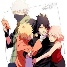 Team 7 - Kakashi, Naruto, Sakura and Sasuke Naruto Uzumaki, Anime Naruto, Naruto And Sasuke, Itachi, Hinata, Naruto Team 7, Naruto Gaiden, Kakashi Hatake, Sakura And Sasuke