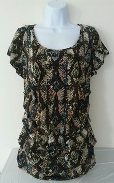 Ellen Tracy Womens Top XL XLarge Ruched Snake Skin Print Multi-Color Scoop Neck in Clothing, Shoes & Accessories, Women's Clothing, Tops & Blouses   eBay