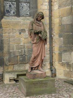 Statue de Martin Schongauer, réalisée en 1860 par Frédéric Auguste Bartholdi – Musée d'Unterlinden de Colmar, Haut-Rhin (France) – Crédit Photo: Bourrichon – Licence GFDL – Martin Schongauer, né vers 1450 à Colmar, Haut-Rhin (France) et mort en 1491 à Vieux-Brisach (Allemagne),  était un peintre et surtout un illustre graveur alsacien, dont la renommée s'étendait jusqu'en Italie et aux Pays-Bas.