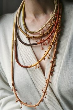 Very long fiber brown necklace Hand wrapped necklace by annawoz, $85.00