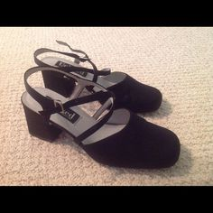 Black Cross strap Shoes Now $10 Satin Black Cross Strap shoes. Worn once for Prom. Unlisted Shoes Heels