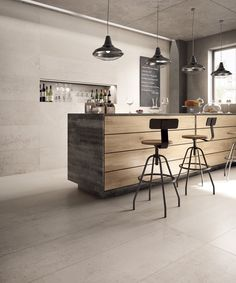 Porcelain stoneware wall/floor tiles PORTLAND 325 By Ariana Ceramica House Tiles, Wall And Floor Tiles, Portland, Cafe Shop, Ariana, Kitchen Pictures, Cafe Restaurant, Wall Treatments, Concrete Floors