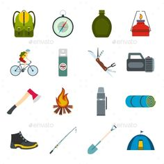 Download Free Graphicriver              Camping Flat Icons            #activity #backpack #bag #bench #binocular #camp #camper #campfire #camping #collection #compass #fire #flame #flat #icon #illustration #knife #leisure #light #outdoors #recreation #set #sign #sport #summer #tent #tool #tourism #travel #vector
