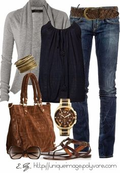 Grey long sweater, black blouse, jeans bracelet, hand bag and wrist watch for ladies - Click image to find more fashion posts
