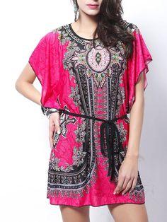 #Fashionmia - #Fashionmia Round Neck Tribal Printed Belt Mini Shift Dress - AdoreWe.com