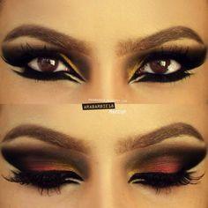 Arabic makeup with double eyeliner
