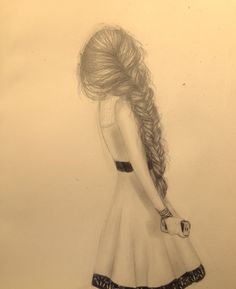 Long messy fishtail, cute dress, and an iPhone. Original drawing by Creeaytivray - Rheaaaagan :)