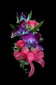 sweetheart rose and orchid corsage
