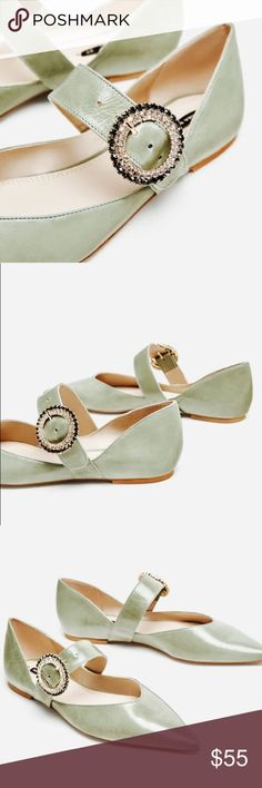 ZARA BEJEWELED LEATHER BALLERINA Bejeweled Ballerina in Sea green Leather by ZARA Bejeweled brooch detail, fastening strap across the instep  Brand New comes with dust bag Zara Shoes