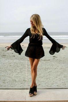 Black Summer beach dress with flared sleeves