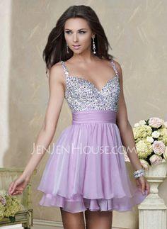 Homecoming Dresses - $133.99 - Elegant A-Line/Princess V-neck Short/Mini Chiffon Charmeuse Homecoming Dresses With Ruffle Beading (022004341) jenjenhouse.com