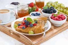 CREPES: delicious breakfast - crepes with fresh berries and honey Breakfast Crepes, Crepe Maker, Berries, Honey, Stock Photos, Fresh, Desserts, Food, Tailgate Desserts