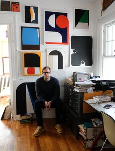 Julian Montague and his semi-fictional paintings made to be photographed for exhibition posters for his fictional 1970s art institution, The Thorold Gallery.
