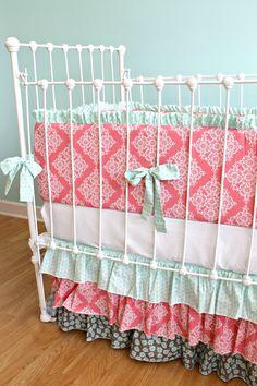 Custom Coral & Seafoam Ruffle Crib Bedding Set-. $430.00, via Etsy.