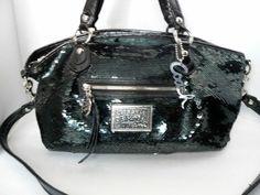 Limited Edition COACH Poppy Black Sequin Rocker Bag 16339 Tote RARE #Coach #TotesShoppers