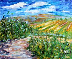 Original oil painting California WINE VINEYARD by Karensfineart