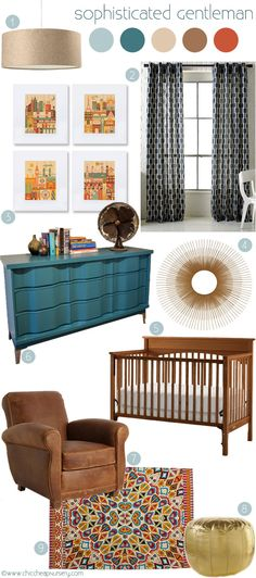 "Love this design board! Hope the crib stays ""naked."" Just a crib skirt and a tight fitted crib sheet is all this great nursery needs. Color combo is great! Baby Boy Nursery Decor, Baby Boy Rooms, Baby Boy Nurseries, Nursery Room, Baby Room, Nursery Ideas, Room Ideas, Baby Boy Decorations, Kids Decor"