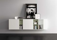 madia credenze con moduli a giorno libreria in laccato bianco Pianca