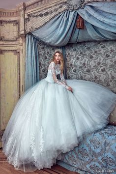 galia lahav bridal spring 2017 long sleeves high neck ball gown wedding dresses (corina) mv