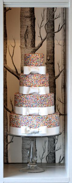 Birchgrove Bakery 4 Tier Sprinkle Cake With White Bows..hmmm would she like this????