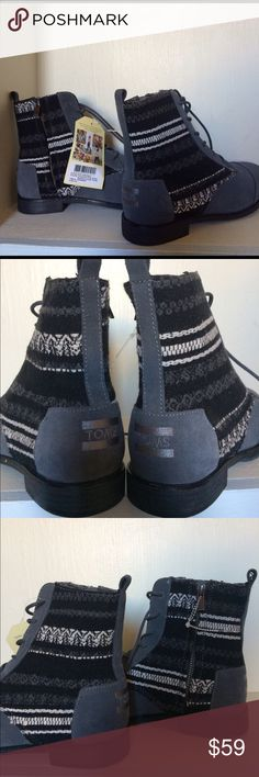 NWT Toms alpha boots NWT Toms alpha boot castle rock grey water resistant suede textile. No box or dust sleeve. 🚫🚫No trades 🚫🚫Open to reasonable offers and counter offers. I don't negotiate in comments please use the offer button if interested in making an offer 👇🏻 TOMS Shoes Ankle Boots & Booties