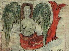 Winged siren from the 15th century Bestiary of Anne Walshe.