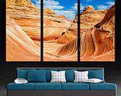 "The Wave, Arizona rocky desert 3 Panel Split Canvas Print. Triptych on 1.5"" deep frames - Landscape photography print for interior design."