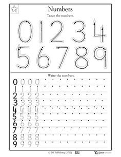 grade, Kindergarten Math Worksheets: Trace the numbers Writing Numbers, Math Numbers, Number Writing Practice, Kindergarten Classroom, Teaching Math, Math Worksheets, Math Activities, Numbers Preschool, Homeschool Math