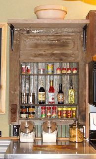 old weathered door spice rack, cleaning tips, diy, home decor, how to, kitchen design, repurposing upcycling, shelving ideas, woodworking projects