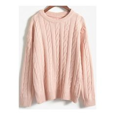 SheIn(sheinside) Pink Round Neck Vintage Cable Knit Sweater (225 ARS) ❤ liked on Polyvore featuring tops, sweaters, pink, cable pullover, cable knit sweater, loose pullover sweater, cableknit sweater and acrylic sweater