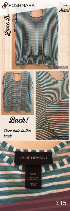Just In✨Lane Bryant Striped Top✨Plus size Preloved, great conditions. No signs of wear. Semi sheer material in Turquoise and white colors. Has a peep hole in the back and its shorts sleeves. 🚫Bundle & Save🚫 Size 18/20 Lane Bryant Tops Blouses