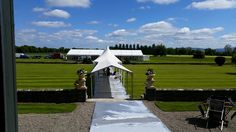 Wedding marquee preparation coming along for the next summer wedding at Luttrellstown Castle Resort