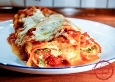 four cheese (and spinach) manicotti