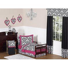 Sweet Jojo Designs Isabella Toddler Bedding Collection in Pink/Black/White