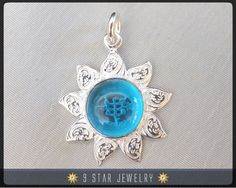 Sunflower - Sterling Silver 9 Star Bahai Pendant by 9 Star Jewelry