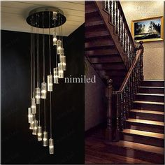 Nimi41 Modern Minimalist Fashion Transparent K9 Crystal Block S-shaped Duplex Staircase Pendant Chandelier Lighting Lamps Light For Hotel Online with $372.0/Piece on Nimiled's Store | DHgate.com