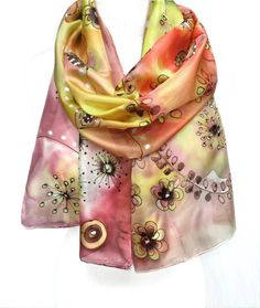 Hand Painted Silk Scarf. Whimsy Scarf. Gift for Her. by TeresaMare, $42.00