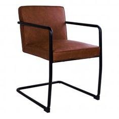 Spisebordsstol i brun PU læder, sort metalstel
